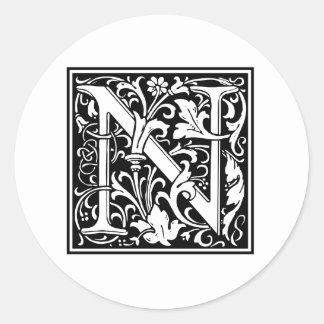 Decorative Letter N Sticker