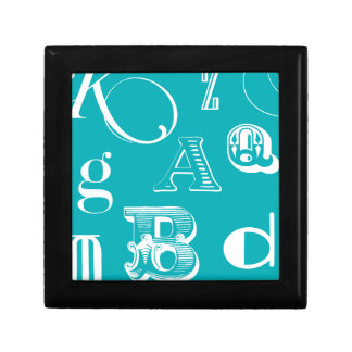 Decorative Letters on Blue Background Gift Box