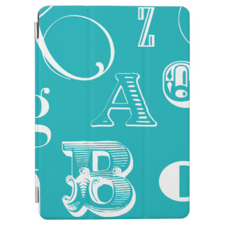 Decorative Letters on Blue Background iPad Air Cover