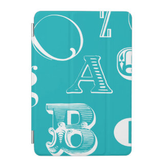 Decorative Letters on Blue Background iPad Mini Cover
