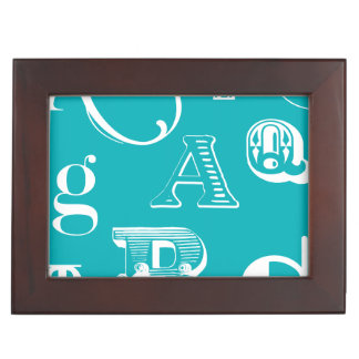 Decorative Letters on Blue Background Keepsake Box