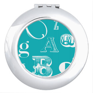 Decorative Letters on Blue Background Makeup Mirrors