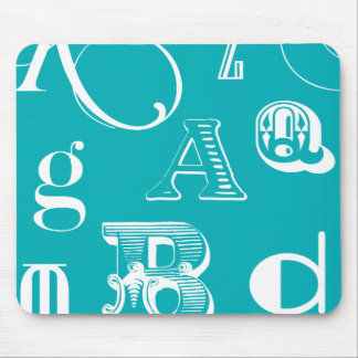Decorative Letters on Blue Background Mouse Mat