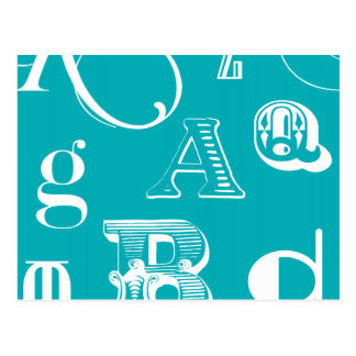 Decorative Letters on Blue Background Post Card