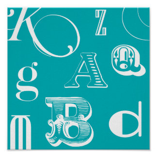 Decorative Letters on Blue Background Poster
