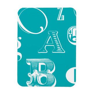 Decorative Letters on Blue Background Vinyl Magnets