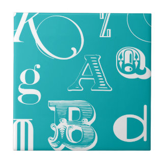 Decorative Letters on Blue Background Small Square Tile
