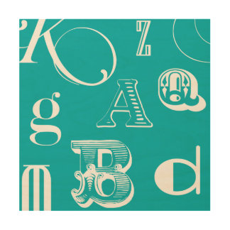 Decorative Letters on Blue Background Wood Wall Decor