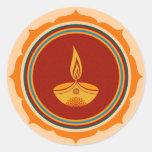 Decorative Lotus Diwali Design Round Sticker