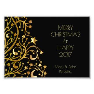 Decorative Merry Christmas Stars Black Gold Starry Photographic Print