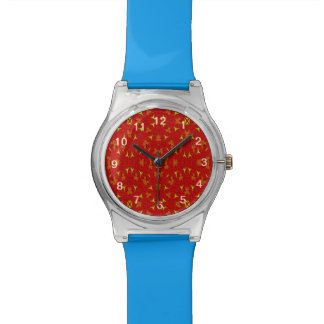 Decorative modern red yellow pattern watch
