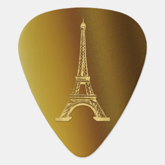 Decorative Monogram | Golden Eiffel Tower Guitar Pick