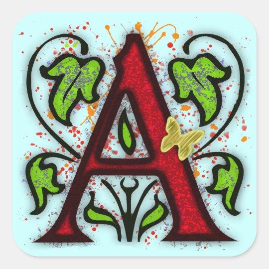 Decorative Monogram Letter A Square Sticker