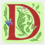 Decorative Monogram Letter D Square Sticker