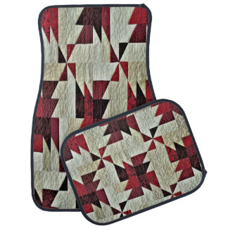 Decorative Multi-Colour Quilted Set of 4 Car Mats