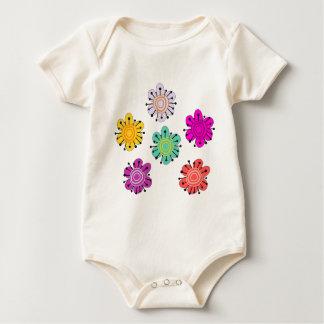 Decorative Multicolored Flowers Baby Bodysuit