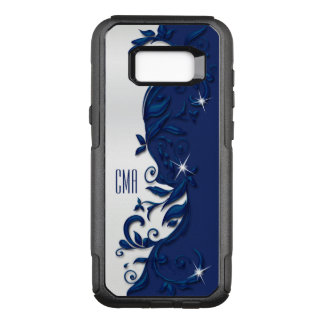 Decorative Navy Blue and White Design | Monogram OtterBox Commuter Samsung Galaxy S8+ Case