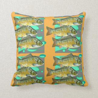 DECORATIVE OCHER-GREY COLOR SCHOOL OF  FISH CUSHION