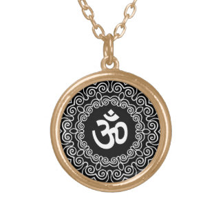 Decorative Om Design Gold Plated Necklace