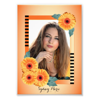 Decorative Orange and Floral -Photo Template Photographic Print