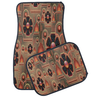 Decorative Orange Brown Abstract Set of 4 Car Mats