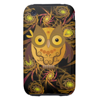 Decorative Owl and Spiral Patterns iPhone 3 Tough Cases