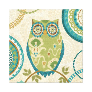 Decorative Owl with Circular Designs Stretched Canvas Print