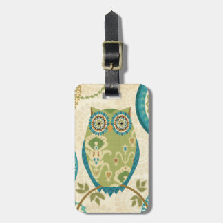 Decorative Owl with Circular Designs Luggage Tag