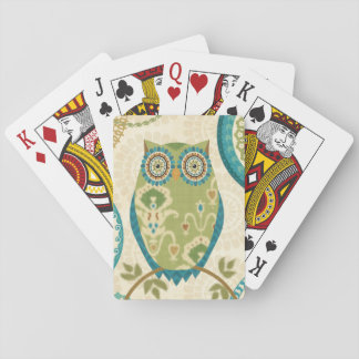 Decorative Owl with Circular Designs Playing Cards