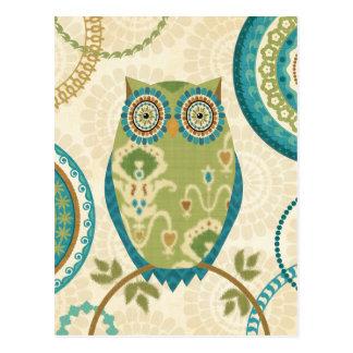 Decorative Owl with Circular Designs Postcard