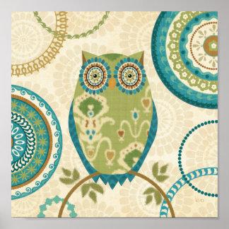 Decorative Owl with Circular Designs Poster