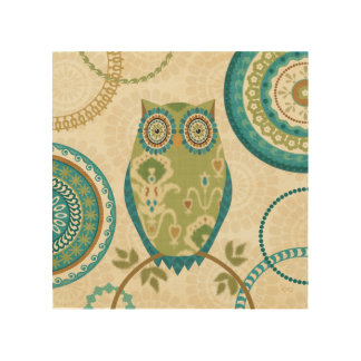 Decorative Owl with Circular Designs Wood Canvases