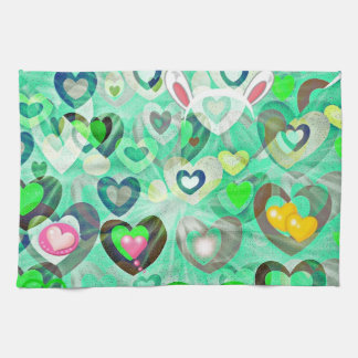 decorative pastel hearts easter kitchen towel