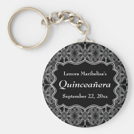 Decorative Pattern Black and White Quinceanera Keychain