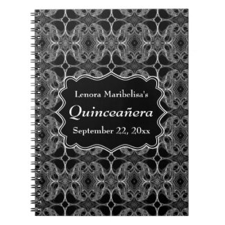 Decorative Pattern Black and White Quinceanera Journal