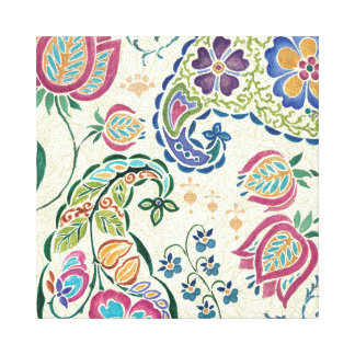 Decorative Peacock and Colorful Flowers Canvas Print