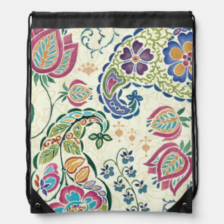 Decorative Peacock and Colorful Flowers Drawstring Bag