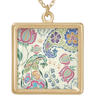 Decorative Peacock and Colorful Flowers Gold Plated Necklace