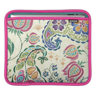 Decorative Peacock and Colorful Flowers iPad Sleeve