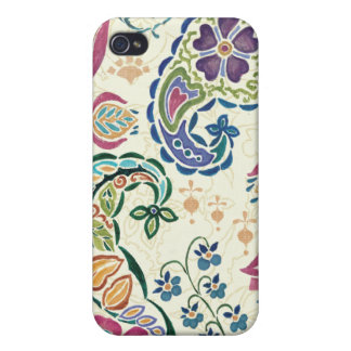 Decorative Peacock and Colorful Flowers iPhone 4 Case