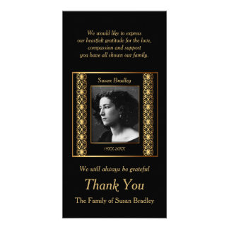 Decorative Photo Sympathy Thank You gold piping Personalised Photo Card