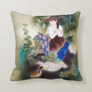 Decorative Pillow w Oriental Motif - Woman & Swans