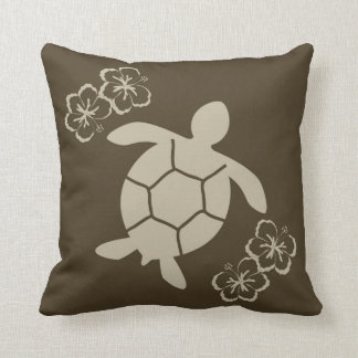 Decorative pillow with sea turtle, brown on tan