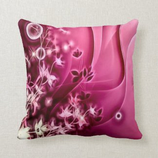 Decorative Pink Flowers Fractal Plush Throw Pillow Cushions