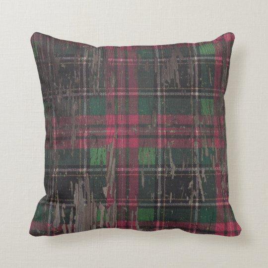 Decorative Plaid Rustic Wood Throw Pillow