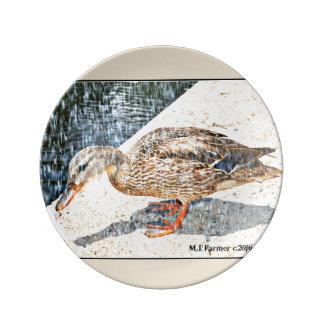 "Decorative Plate ""Crown King Duck in Rain"" Porcelain Plate"