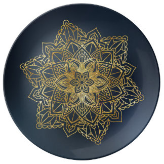 Decorative porcelain plate with mandala.
