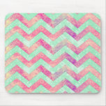 Decorative purple abstract mint green pink chevron mousemat