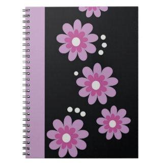 Decorative Purple Floral Pattern Spiral Bound Spiral Notebooks