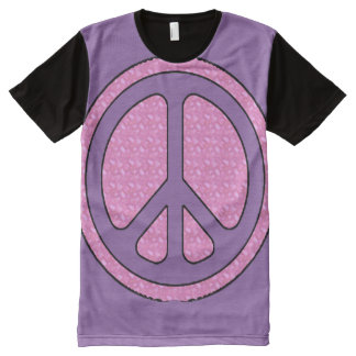 Decorative Purple Peace Sign All-Over Print T-Shirt